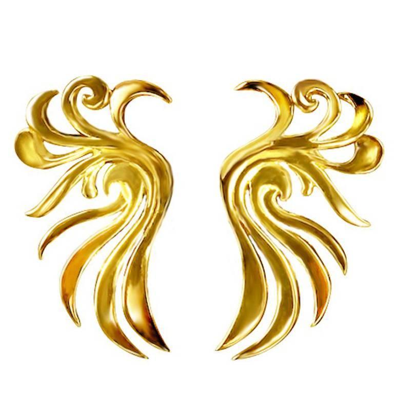 18 Karat Yellow Gold Phoenix Earrings by John Landrum Bryant