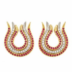 Diamond and Rubies with 18k Gold PHOENIX FLAME Earrings by John Landrum Bryant