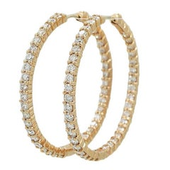 Roberto Coin 3.45 Carat Diamond Hoop Rose Gold Earrings