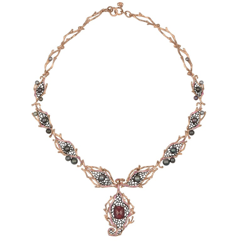 18 Karat Rose Gold Red Garnet, Keshi Pearl, Sapphire and Diamond Necklace