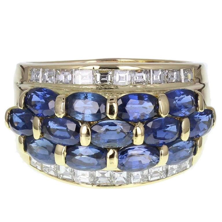 Unsual Oval Cut Sapphire Square Cut Diamond Band Ring