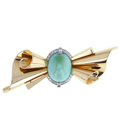 Retro Turquoise Diamond 18 Carat Gold Bow Brooch