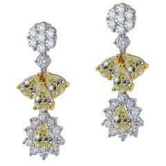 White Gold Flower Earrings with Fancy Yellow and White Diamonds