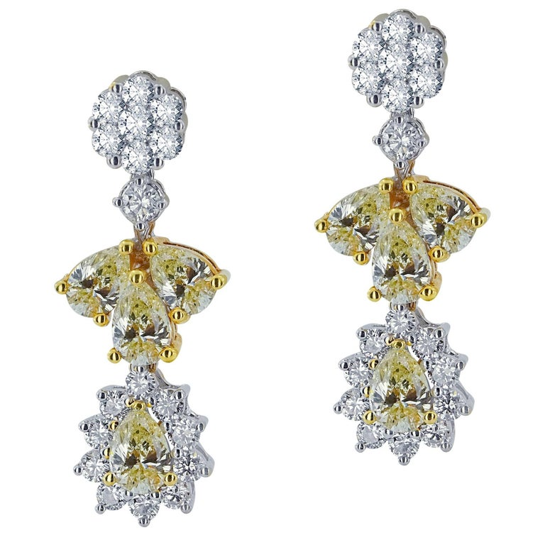 White Gold Flower Earrings with Fancy Yellow and White Diamonds For Sale