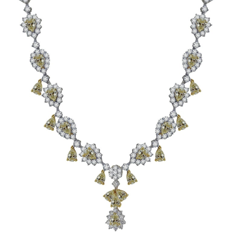 White Gold Flower Necklace with Fancy Yellow and White Diamonds