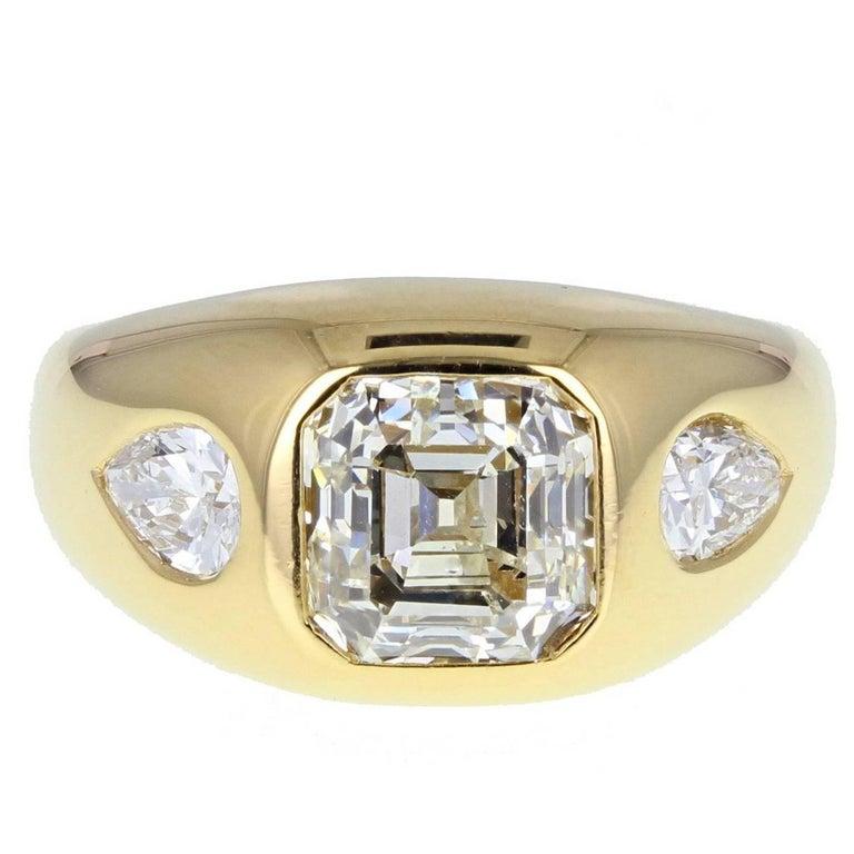 Bulgari 2.75 Carat Emerald Cut Diamond 18 Carat Gold Ring
