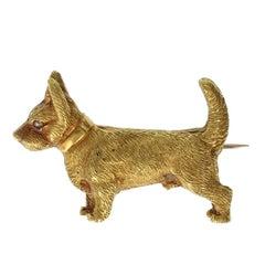 Antique Victorian Welsh Corgi or Terrier Dog Brooch