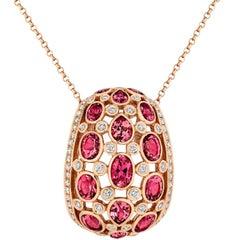 Tivon Fine Jewellery Pink Tourmaline and Diamond Pendant