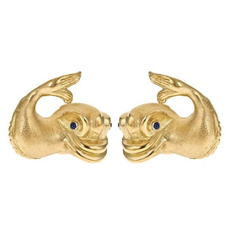 Shires 18 Karat Gold Renaissance Dolphin Earrings By John Landrum Bryant For