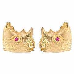 Ruby Eyes 18 Karat Gold Rhinoceros Earrings by John Landrum Bryant