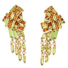 Diamond Peridot and 5.9 Carat Citrine Ribbon Earrings by John Landrum Bryant