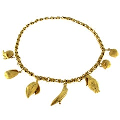 Necklace Handmade in 18 Karat Gold and Electroform 24 Karat Gold Fruits
