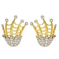 3.79cts. Diamonds 18k Gold Sea Serpent Crest Earrings by John Landrum Bryant