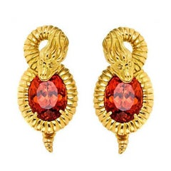 John Landrum Bryant: 18k Gold Mandarin Garnets SEA SERPENT Earrings
