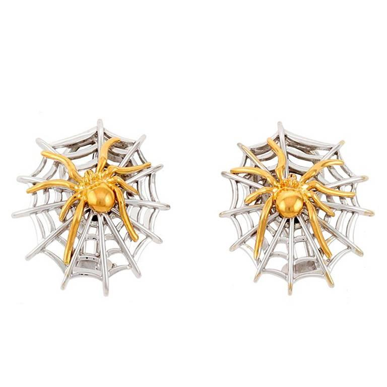 18k White and Yellow Gold Spider Earrings by John Landrum Bryant