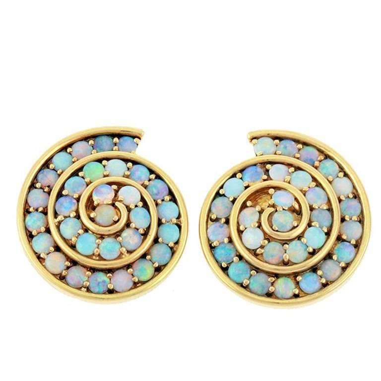 18k Gold Spiral Blue Opal Earrings By John Landrum Bryant For
