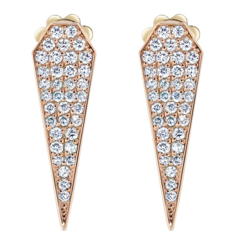 Diamond Drop Rose Gold Earrings