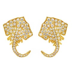 18 Karat Yellow White and Rose Gold Stingray Earrings by John Landrum Bryant