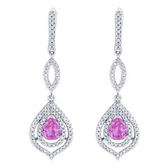 2.90 Carat Pink Sapphire Diamond Drop Earrings