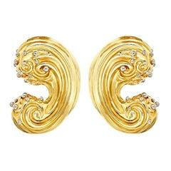 18k Gold WAVE Earrings by John Landrum Bryant