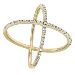 0.37 Carat X-Shape Diamond Gold Ring