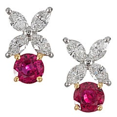 """Ruby and Diamond """"Victoria"""" Earrings, Signed Tiffany & Co."""