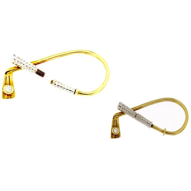 18 Karat Gold Golf Club Style Key Ring
