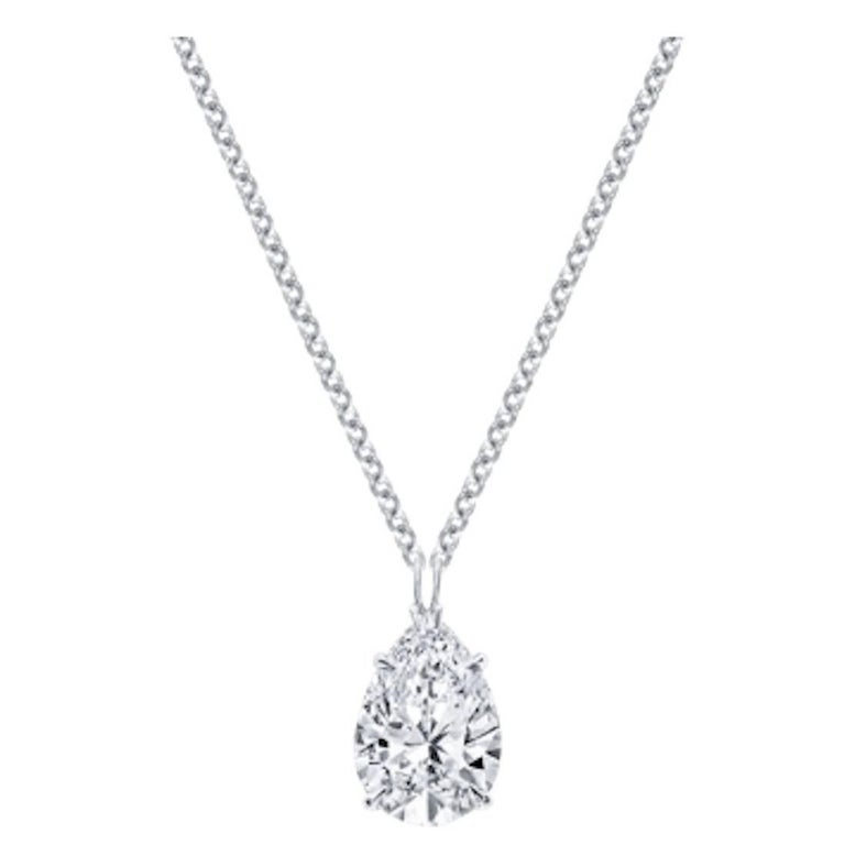 1.53 Carat Pear Shape Diamond D Internally Flawless Platinum Pendant Necklace