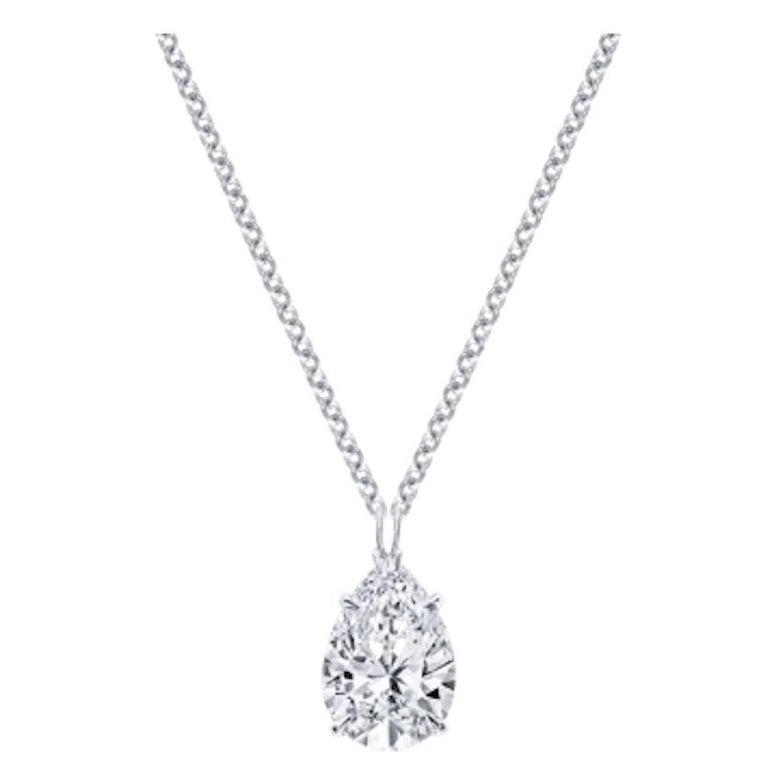 1.53 Carat Pear Shape Diamond D Internally Flawless Platinum Pendant Necklace For Sale