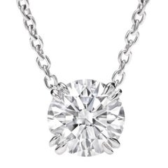 2.01 Carat Round Diamond D Internally Flawless Platinum Pendant Necklace