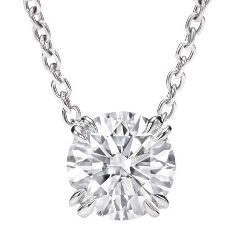 2.01 Carat Round Diamond D Internally Flawless Platinum Pendant Necklace For Sale