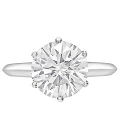3.16 Carat Round Diamond D Internally Flawless Solitaire Platinum Ring
