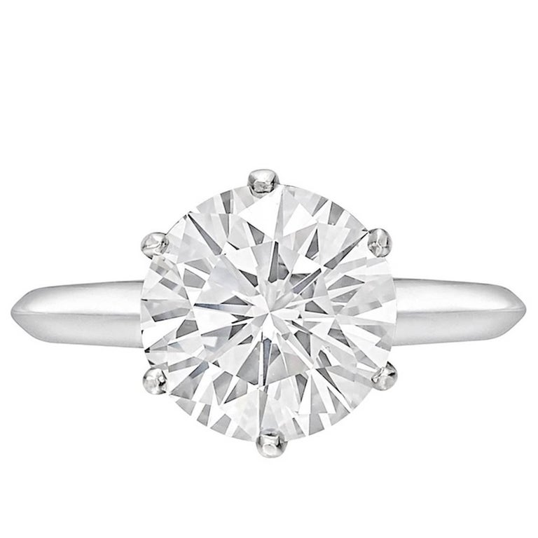 3.16 Carat Round Diamond D Internally Flawless Solitaire Platinum Ring