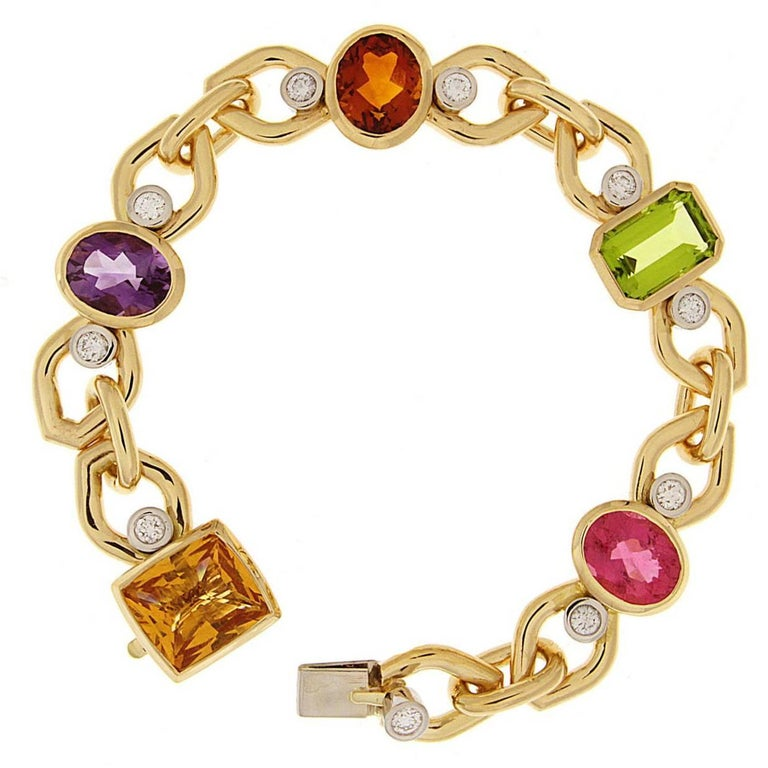 Multi-Color Bracelet with Citrine, Amethyst, Peridot and Pink Tourmaline