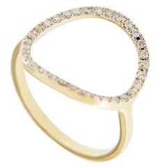Jona 18K Yellow Gold White Diamond Open Circle Hoop Ring