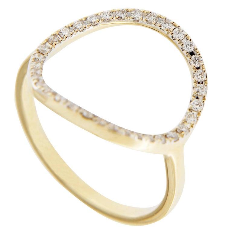 Jona 18K Yellow Gold White Diamond Open Circle Hoop Ring