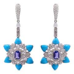 Turquoise Diamond Tanzanite Star Drop Earrings