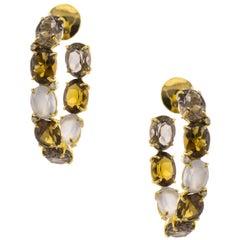 Citrine Agate and Quartz Earrings