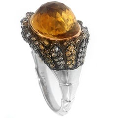 Zorab Creation Citrine, Brown and Yellow Diamond with Gold Bombe Cocktail Ring