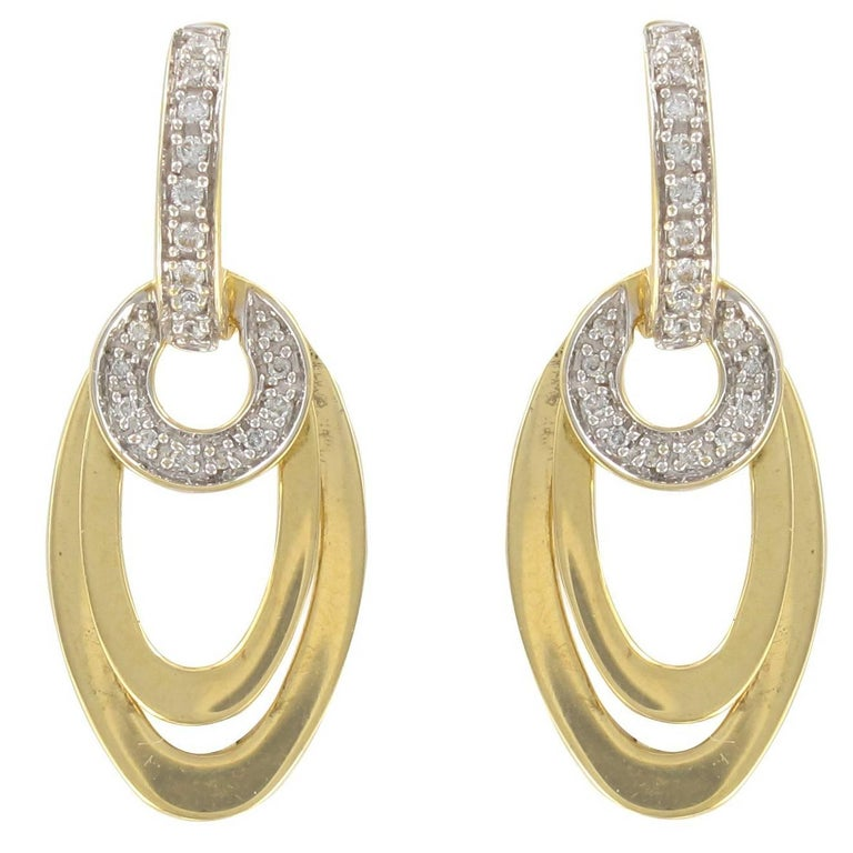 Modern 18 Carat Gold and Diamond Dangle Earrings