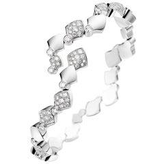 Akillis Python Flexible Bracelet 18 Karat White Gold Half-Set White Diamonds