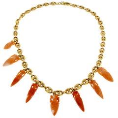 18 Karat Gold Necklace and Peau d' Ange Coral Amphoras