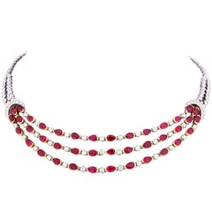 Ella Gafter Ruby and Diamond Necklace