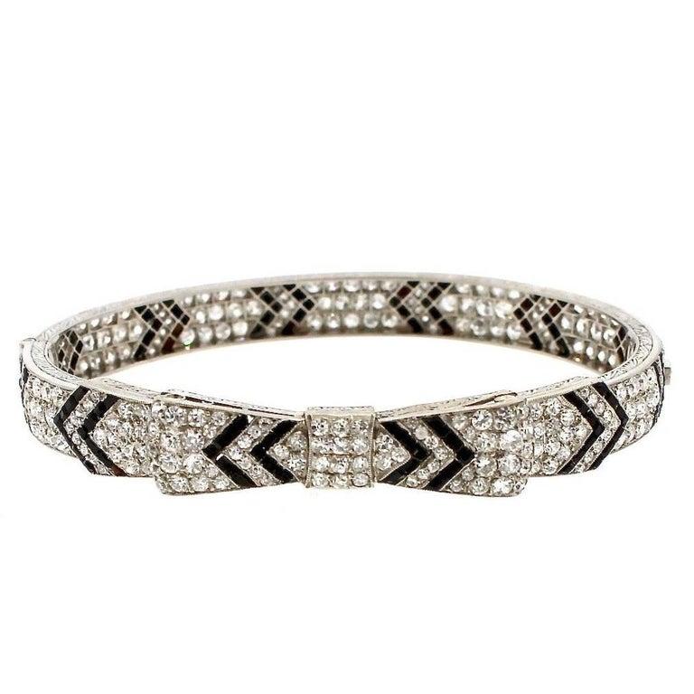 Antique Art Deco Diamond Onyx Platinum  Bow Bangle Bracelet