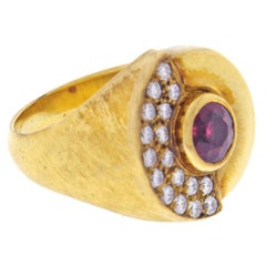 Burle Marx Red Tourmaline and Diamond Ring