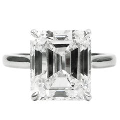 GIA Certified 5.25 Carat Emerald Cut E VS2 Diamond Solitaire Platinum Ring