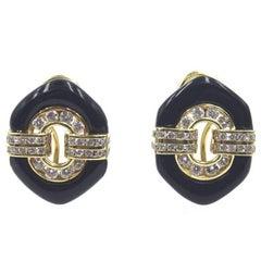 Diamond Onyx 18 Karat Yellow Gold Earrings
