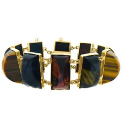 Unique Antique Tiger's Eye Gold Bracelet