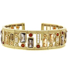 Judith Ripka Multi-Color Gemstone Diamond Cuff