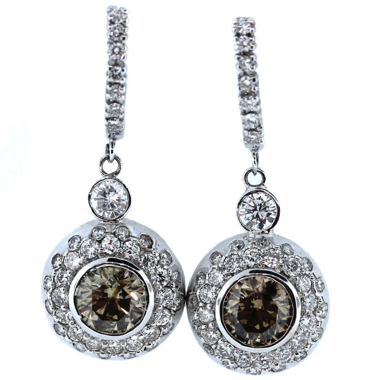 Champagne and White Diamond Drop Earrings